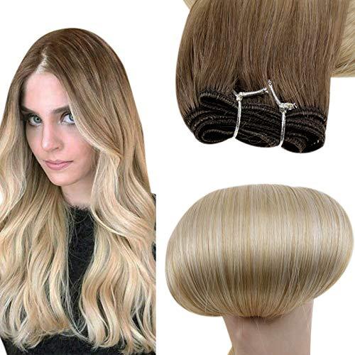 Easyouth Tissage Cheveux Naturel Humains Couleur Brun Moyen Mixte Blond Miel et Blond Platine Saw in Hair Extension Humain Tissage Cheveux Naturel 12pouces 70g