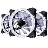 EZDIY-FAB Ventilatore ad Anello a LED da 120 mm,Ventilatore a LED Case per PC Case,CPU Cooler e Radiatori Bianco 3 Pin 3 Pack