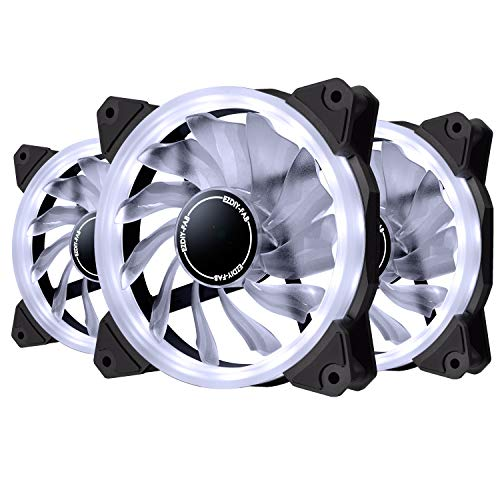 EZDIY-FAB 120mm White LED Ring Fan,White LED Case Fan for PC Case,CPU Cooler and Radiators,3-Pin 3 Pack