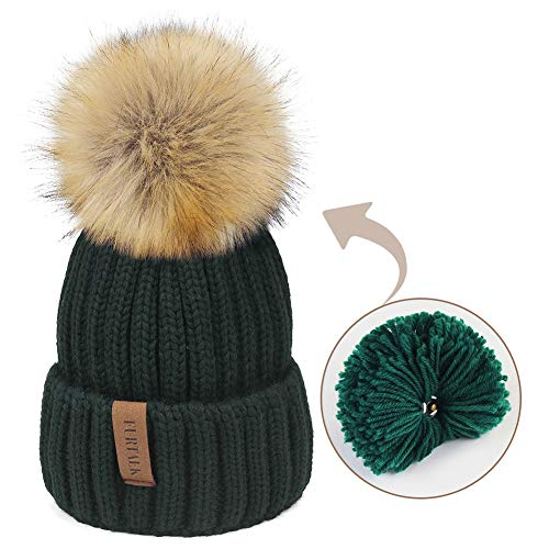 Kids Winter Knitted Pom Beanie Bobble Hat Cotton Lined Faux Fur Ball...