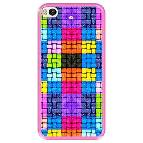 Hapdey Funda Rosa para [ Xiaomi Mi5s - Mi 5s ] diseño [ Cuadrados de Colores con Gotas de Agua ] Carcasa Silicona Flexible TPU