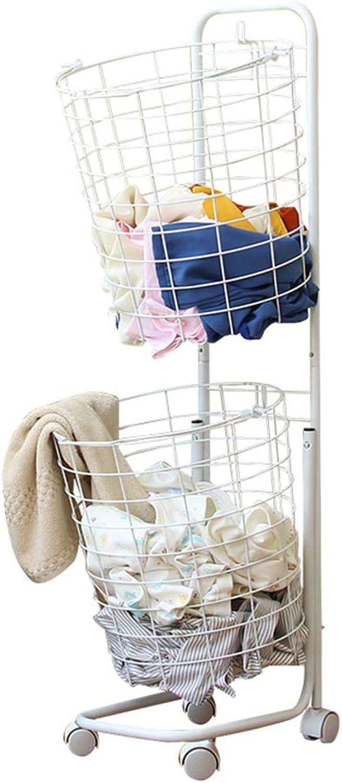 DATOUFZR Bathroom Household Basket It Can Move Waterproof Wheeled Clothes Bathroom Finishing Basket Storage Iron Art White Shelf 36  36  108Cm