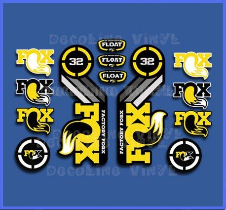 Ecoshirt CW-POEN-VAGO Pegatinas Fox Float 32 2015 Heretage Dp1086 Stickers Aufkleber Decals Autocollants Adesivi, Amarillo