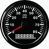 ELING Tachimetro RPM Calibro con contaore per auto camion barca 0-8000 RPM 85mm con retroilluminazione