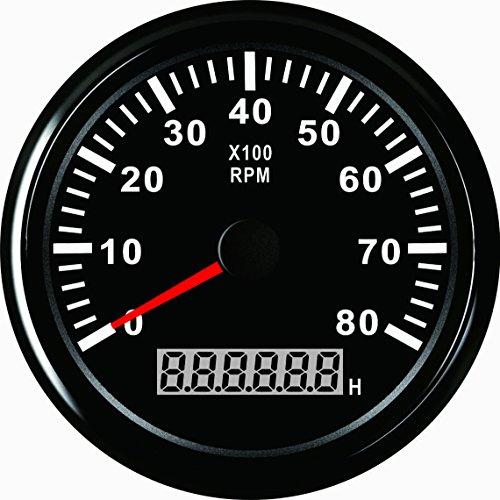 ELING Drehzahlmesser mit Stundenzähler für Auto, LKW, Boot, Yacht, 0–8000 U/min, 85 mm, mit Hintergrundbeleuchtung