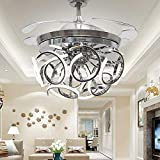 Orillon 42 Inch Modern Spiral Ceiling Fan Light Polished Silver Indoor LED Reverse Chandelier Fan 3 Color Changing Retractable Ceiling Light Remote for Indoor Living Dining Room 6 Gear Speed