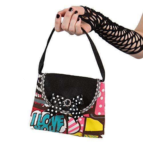Amakando Farbenfrohe Pop-Art Schultertasche für Frauen / 17x20cm / Trendige Retro Handtasche im Cartoon-Look / Perfekt geeignet zu Fasching & Kostümfest