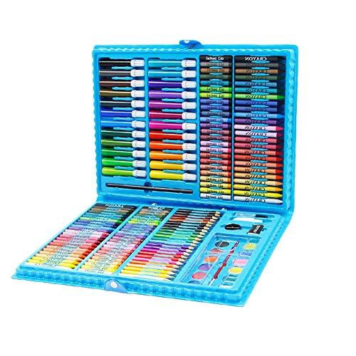 Aquarel Potlood Set - Heldere Kleuren - Kleurplaten Boeken voor Kinderen en Volwassenen, Comics, Manga, Kalligrafie, Kunst (168 Kleuren) Blauw