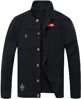 FONMA Men's Autumn Winter Casual Outwear Long Sleeve Tops Camouflage Denim Jacket