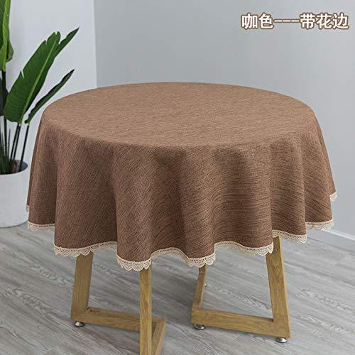 Mantel de mesa redondo de algodón y lino para el hogar, mantel de tela, lino, mantel de mesa de café redondo simple (color café con encaje, mantel redondo de 135 cm (adecuado para dentro de 80 cm))