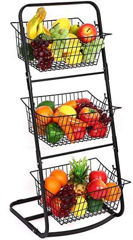 Finnhomy 3 Tier Market Basket Storage Basket Organizer Fruit Vegetable Produce Metal Hanging product image