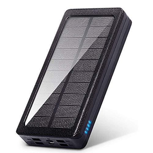 Wttfc 30000Mah Banco De Energía Solar Impermeable 4 USB Cargador Solar Portátil para Exteriores Luz LED Banco De Energía Solar para Samsung iPhone 11/11 Pro, Black