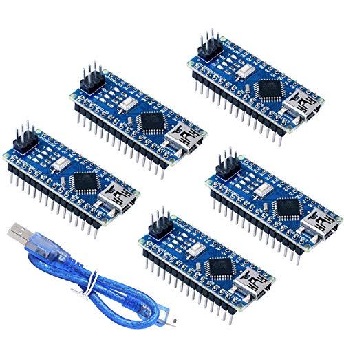 ZHITING 5 Pcs Mini Nano V3.0 ATmega328P 5V 16MHz Micro Controller Board Module Nano Board CH340G Chip with Mini USB Cable for Arduino Nano V3.0