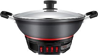 Poêle à Chaleur électrique, Wok Wok électrique, Vapeur électrique intégré pour ragoût de Cuisson, Poêle électrique multifo...