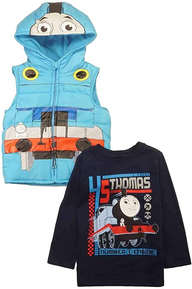 Toddler Boys Thomas The Train Long Sleeve Shirt and Puffer Vest Combo Set 2T 3T 4T (3T, Blue)