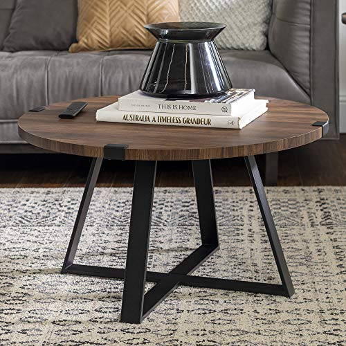 Walker Edison Furniture Rustic Farmhouse Round Metal Coffee Accent Table Living Room, 30 Inch, Walnut Brown, Black