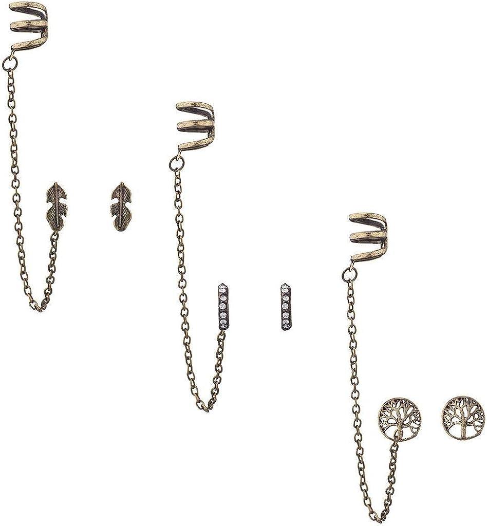 Lux Accessories Burnish Gold Boho Tree of Life Ear Cuff Multi Earring Set (3PCS)