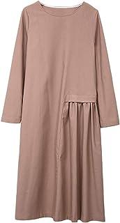 7572096640 Amazhiyu Womens Linen Long Sleeve Midi Dresses with Pockets Side Pleated O  Neck Autumn Casual Dress