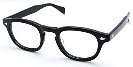 3cb958a404 Vintage Eyeglass Frame Full-Rim Retro Bright Black Glasses Man Women  Spectacles Rx able