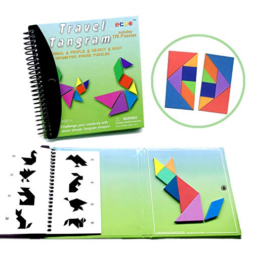 Tangram Game Travel Games 176 Magnetic Puzzle and Questions Build Animals People Objects with 7 Simple Magnetic Colorful Shapes Kid Adult Challenge IQ Educational Book2 set of Tangrams