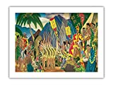 Pomp and Circumstance-Hanohano Ceremonia Hawaiana – Menú de paquetes antiguos de Eugene Savage c.1930s – Primer papel de bambú impreso artístico 43 x 56 cm