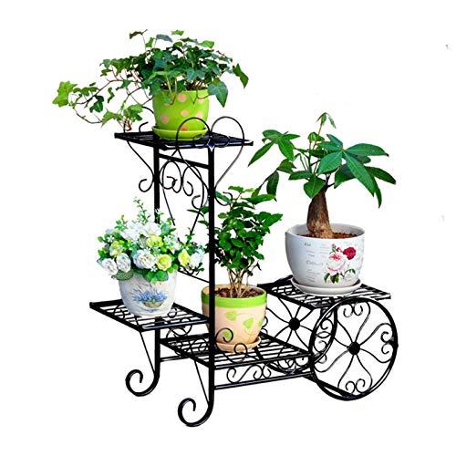 guoda Porte Plante-Porte Plante Interieur Pot De Fleur Support De Plante Présentoir Support De Chariot De Jardin Est Parfait pour La Terrasse De Jardin À La Maison (Color : Black)