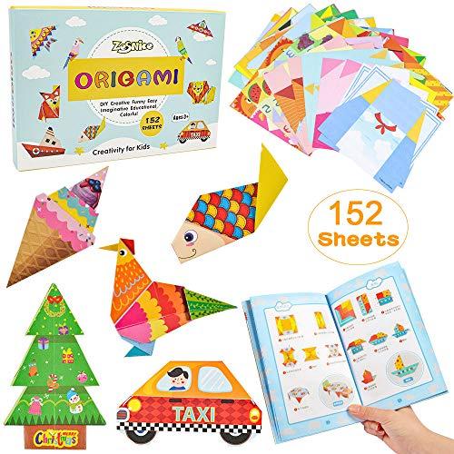 ZesNice Color Kit De Origami Para Niños 152 Archivo De Origami Vívido De Doble Cara 72 Páginas Que Enseña Libro De Origami, Adecuado Para Niños / Clase De Manualidades Escolares