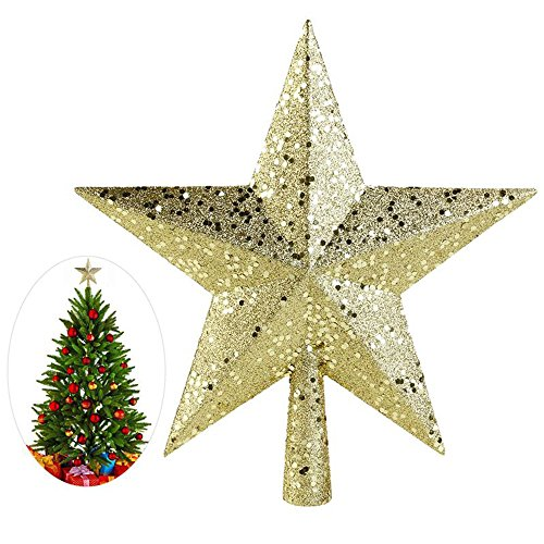 A-Parts 1Pc Cute 4.5 inch Gold Powder Christmas Star Christmas Tree Toppers Christmas Tree Ornaments Xmas