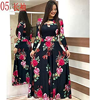 Elegant autumn Women's Dress 2020 Casual Bohemia Flower Print Maxi Dresses Fashion Hollow Out Tunic Dress Plus Size 5XL brand:TONWIN (Color : E long, Size : 5XL)