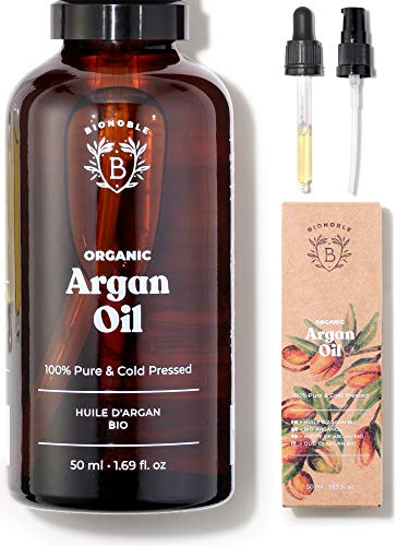 BIONOBLE ORGANIC ARGAN OIL 100% Pure, Natural & Cold Pressed | Pipet Kaca dan Pompa, Botol Kaca | Wajah, Tubuh, Rambut, Kuku | Menutrisi dan memperbaiki | Minyak Argan Maroko (50ml)