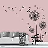 Supzone Dandelion Wall Stickers Flower Wall Decals Butterflies Flying Wall Decors Wall Art...