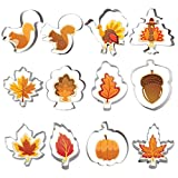 Fall Thanksgiving Cookie Cutter Set 12 PCS Pumpkin, Turkey, Maple Leaf, Oak Leaf, Squirrel and Acorn for Autumn Thanksgiving Christmas Wedding Party Biscuit Fondant Cutters Stainless Steel
