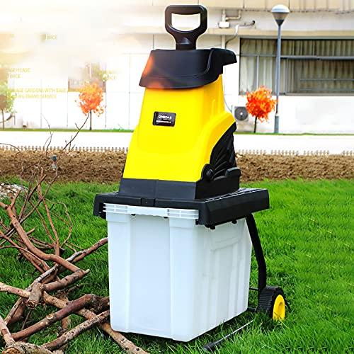 Trituradora/Trituradora de Madera Eléctrica, Trituradora de Ramas de Árboles de Jardín, con Ruedas y Caja de Recolección de Migajas de 45L,0.35m
