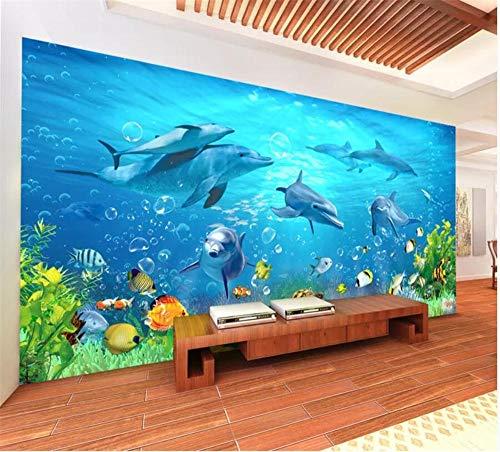 Wandbild Sea World Dolphin Children's Room Coral Reef Fish Living Room 3D wallpape-Über 350 * 245 cm