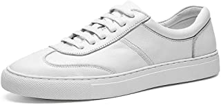 Fashion Shoes, Fashion Shoes Fashion Men Sneaker for Sports Shoes Lace Up Style OX Leather Low Top Simple Pure Colors Outsole Comfortable Shoes, Breathable Shoes (Color : White, Size : 8.5 UK)