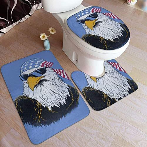 FETEAM Juego de Alfombrillas de Baño de 3 Piezas Águila Patriótica con Gafas de Sol (2) Antideslizantes Absorbente Alfombra de Contorno y Cubierta de Tapa