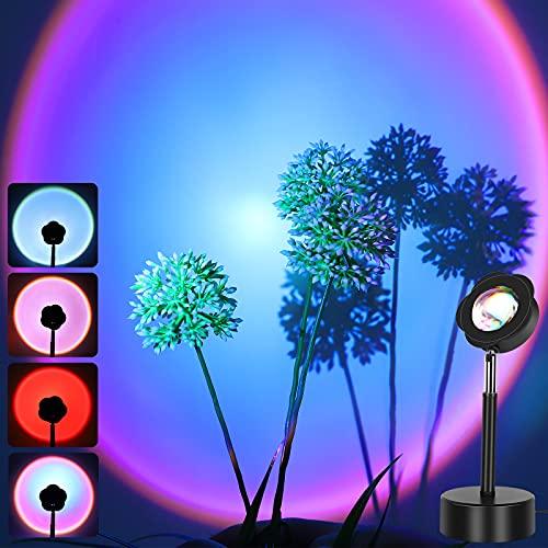 Sunset Lamp, Rainbow Sunset Projector, GUSODOR Multicolor Night Light, Photo Background Romantic Lights for Vlogs Studio Party Bedroom Décor-Rainbow