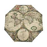 Paraguas de viaje compacto con diseño de mapamundi antiguo, estilo vintage, resistente al viento, toldo reforzado, protección UV, mango ergonómico, apertura y cierre automático