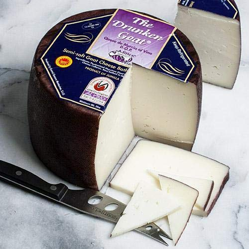 Drunken Goat DOP Spanish Cheese - Whole Wheel (4.5 pound) - Drunken Goat Cheese is mild and smooth, not goaty, with a touch of fruitiness in the finish
