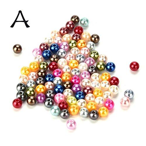Gaddrt DIY 100pc de haute qualité ABS perle ronde perles rondes 8 mm ronds bijoux Making (A)