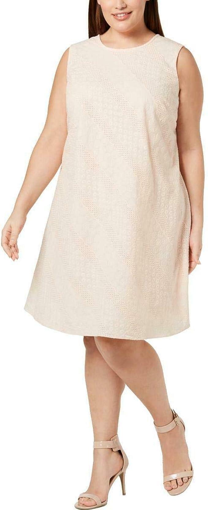 Calvin Klein Damen Plus Size Sleeveless Round Neck Trapeze Dress ...