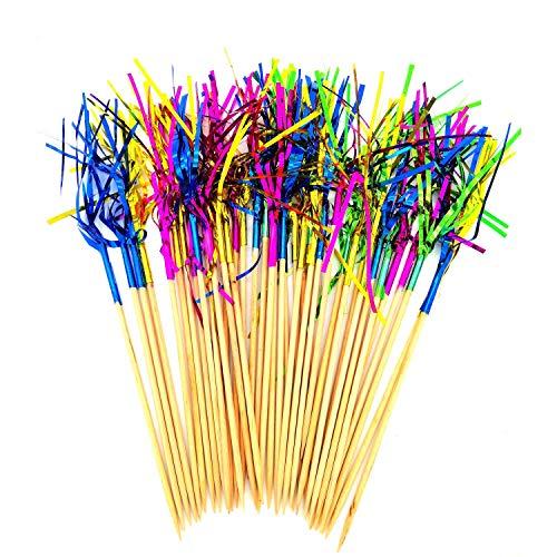 Her Kindness 120 Stück Cocktail Dekoration Feuerwerk Dekospieße,Feuerwerk Kuchen Topper,Sandwich Cocktail Picks,für Familienfeiern, Bars, Picknicks und Restaurants Farbiges