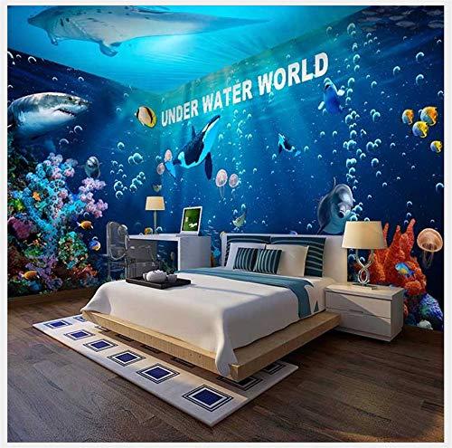YUKANGI Blue Baby Zwembad Behang Ocean Aquarium Onderwater Wereld Dolfijn Themed Hotel Restaurant Slaapkamer Behang 1m² Stijl 3