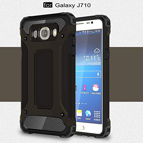 LXHGrowH Funda Samsung Galaxy J7 (2016), Fundas 2in1 Dual Layer Anti-Shock 360° Full Body Protección TPU Silicona Gel Bumper y Duro PC Armadura Carcasa para Samsung Galaxy J7 (2016) J710FN, Negro