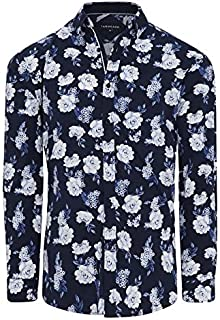 Tarocash Men's Ridge Floral Stretch Shirt Regular Fit Long Sleeve Sizes XS-5XL for Going Out Smart Occasionwear