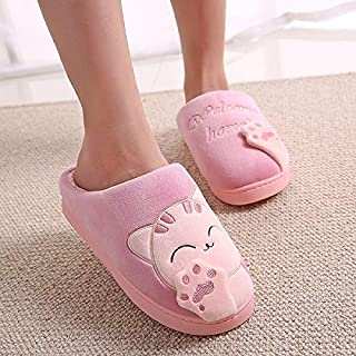 YANGLAN Winter house slippers cartoon cat shoes soft warm indoor bedroom couple cotton slippers Household slippers (Color : E, Size : (38~39))