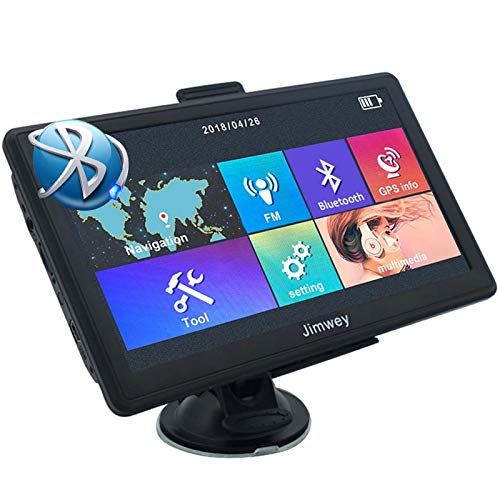 Bluetooth Navigationsgerät für Auto Navigation LKW Navi 7 Zoll 8G Kostenloses Kartenupdate mit Freisprecheinrichtung POI Blitzerwarnung Sprachführung Fahrspurassistent 52 Europa UK Karte