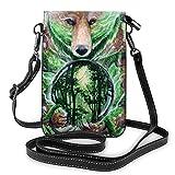 Bolso de piel con diseño de oso de bola de cristal de bosque, bolso de hombro para teléfono móvil, bolsillo para mujeres, senderismo, deportes al aire libre