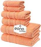 Eono by Amazon, Toallas de SPA y Hotel Juego de Toallas de 6 Piezas, 2 Toallas de baño, 2 Toallas de Mano y 2 toallitas(Melocotón Malibu)