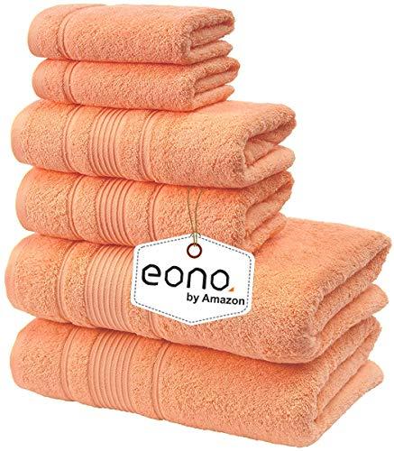 Eono by Amazon, Spa & Hotel Asciugamani Set di 6 Asciugamani, 2 Asciugamani da Bagno, 2 Asciugamani e 2 salviette (Malibu Peach)